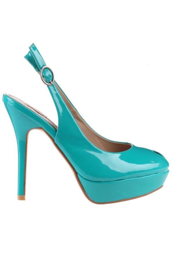 formal patent sandal turquoise