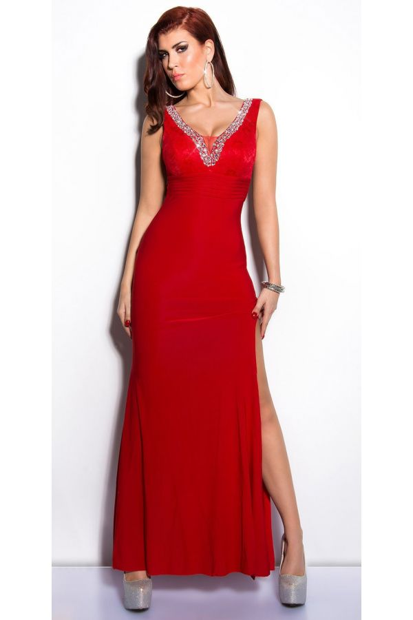 lace exclusive maxi dress with slit decorated with silver rhinestones red