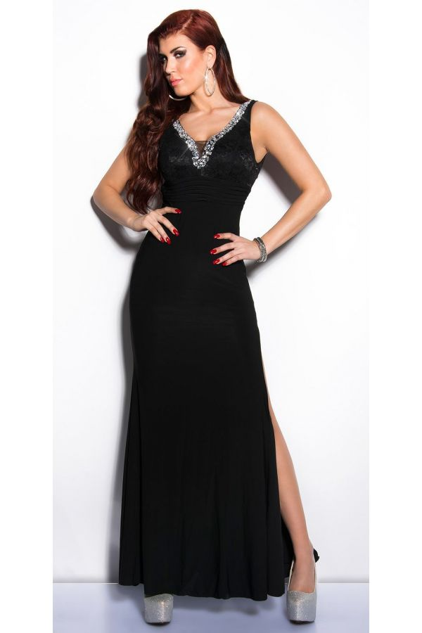 lace exclusive maxi dress with slit decorated with silver rhinestones black
