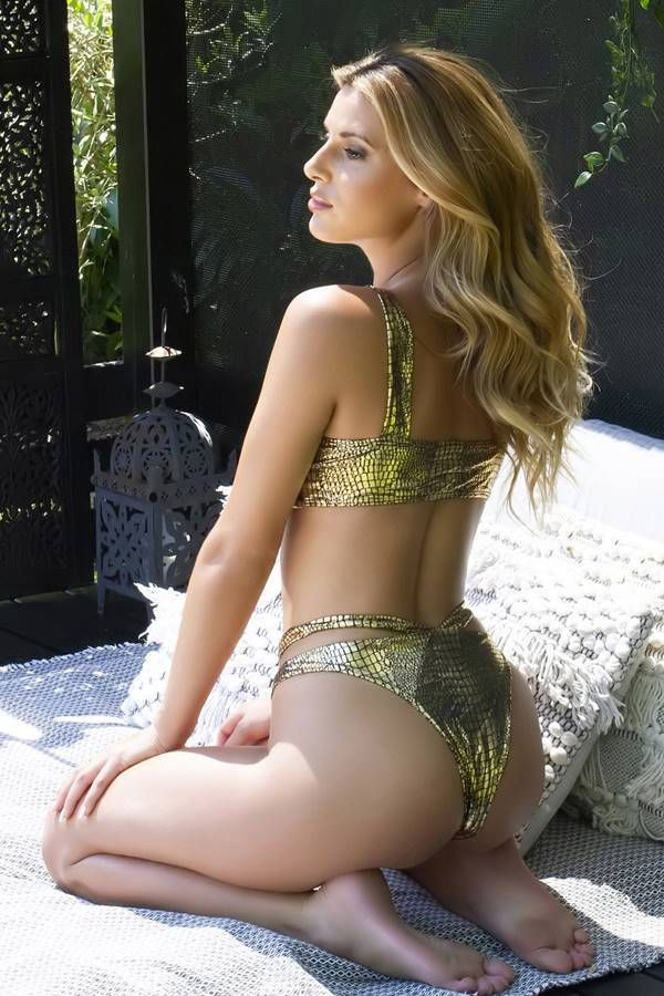 Brazil Bikini Swimsuit High Waist Straps Snake Gold GTOSIB97OI