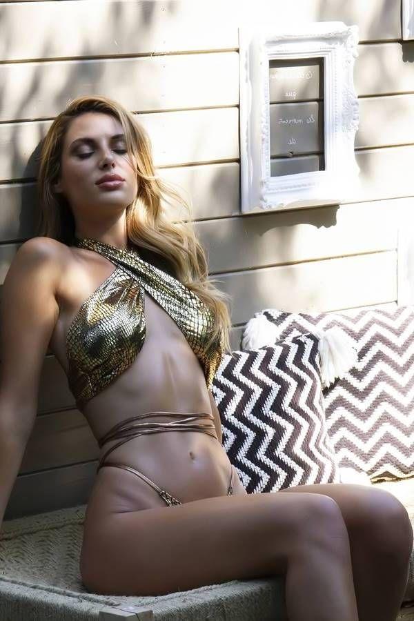 brazil bikini swimsuit crossed neck straps snake gold.