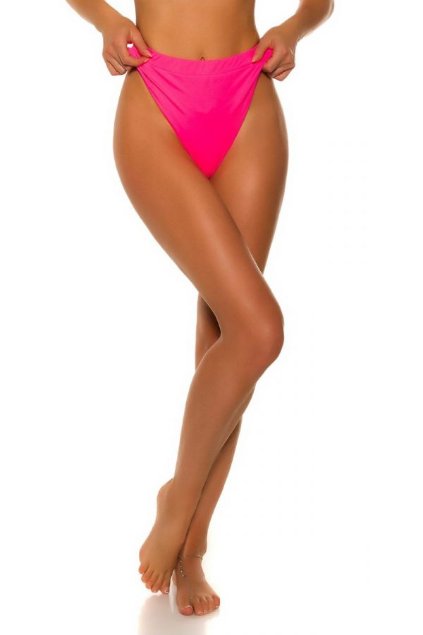 swimsuit highwaist bottom slip brazilian neon pink.