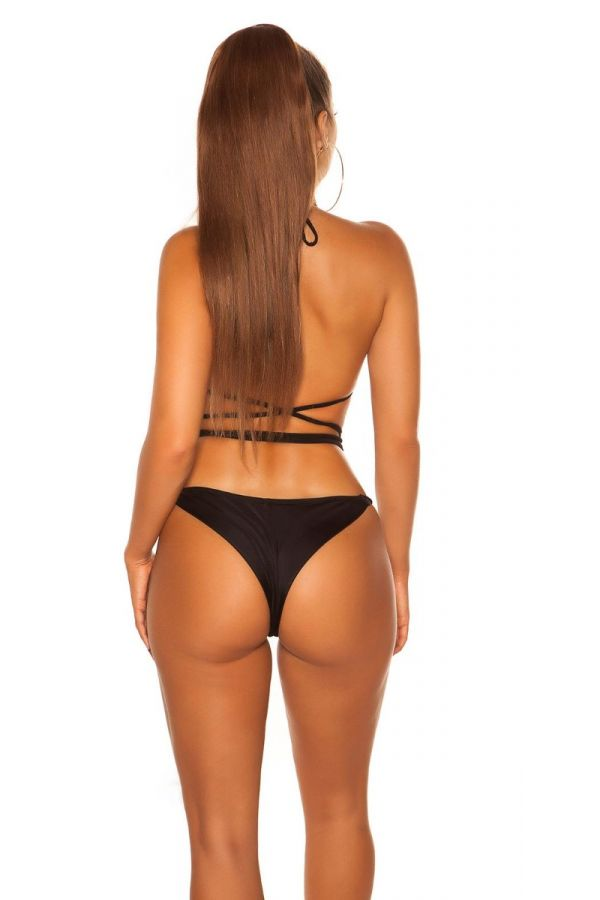 SWIMSUIT BOTTOM SLIP BRAZILIAN BLACK ISDH20245