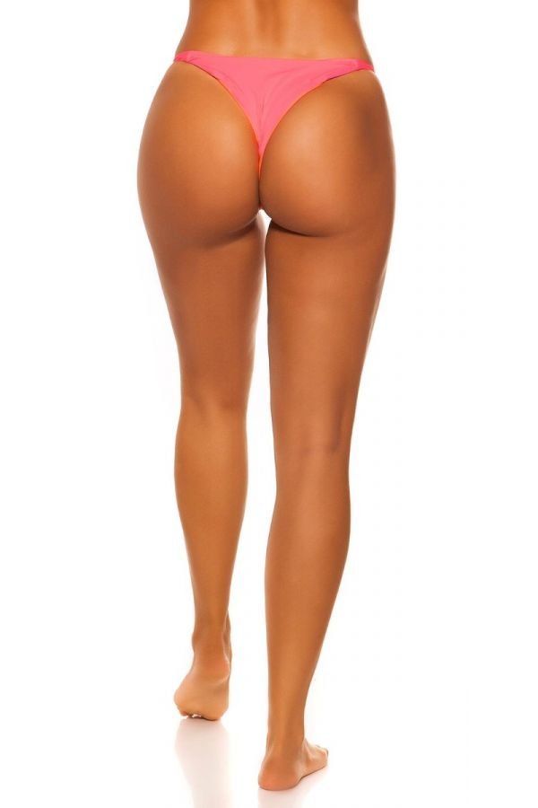 swimsuit bottom slip brazilian neon coral.