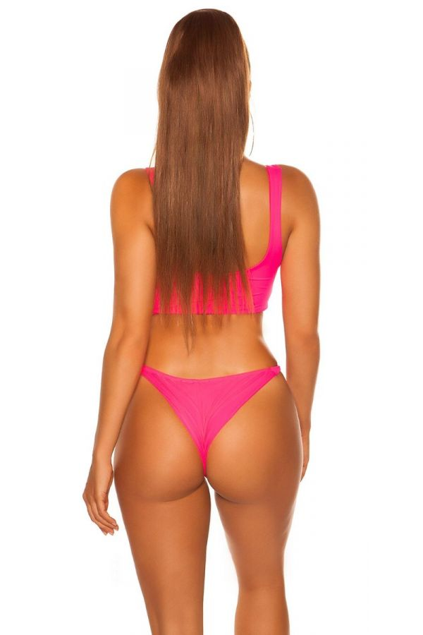 swimsuit bottom slip brazilian neon pink.