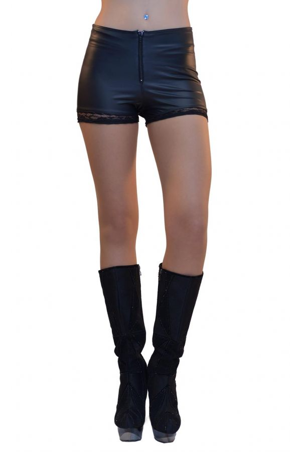 BWB34766 SHORTS LACE WETLOOK BLACK