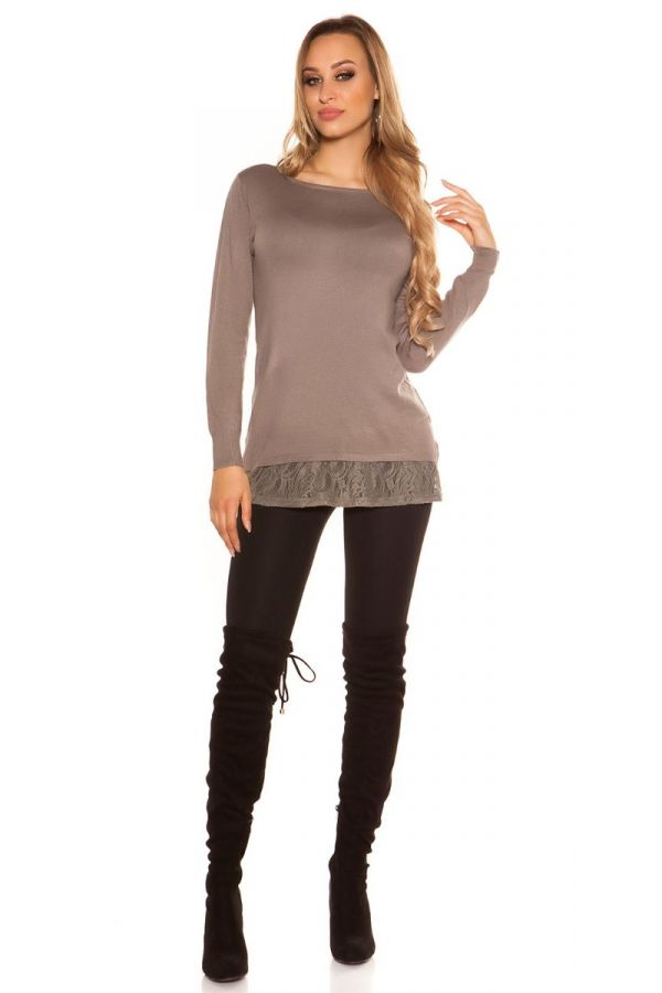 καπουτσίνο πλεκτή μακρυά μπλούζα-φόρεμα δαντέλα στρας.