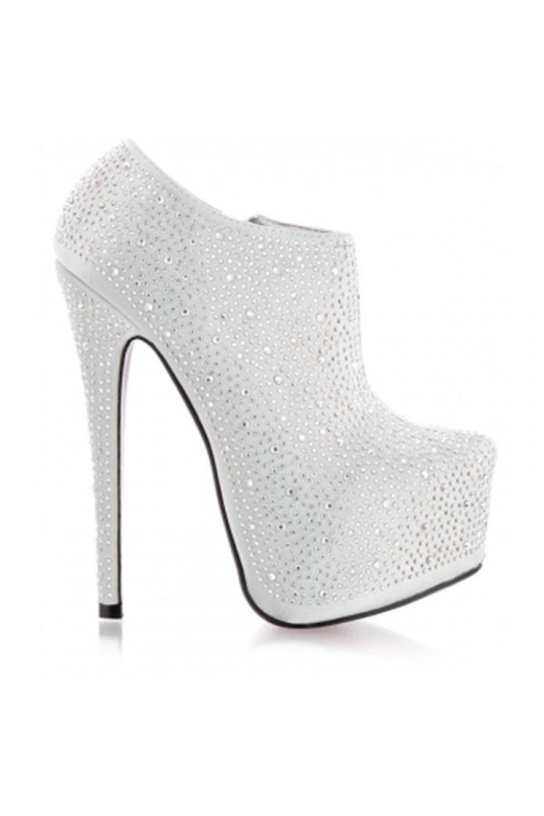 CAS50098 ANKLE BOOT HIGH HEELS SILVER
