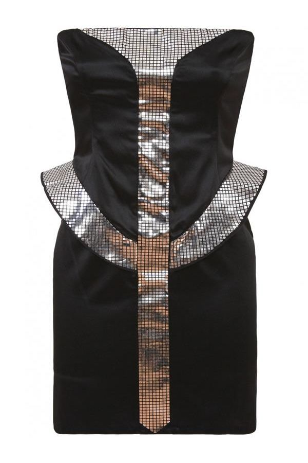 stars strapless satin dress decorated with silver details black