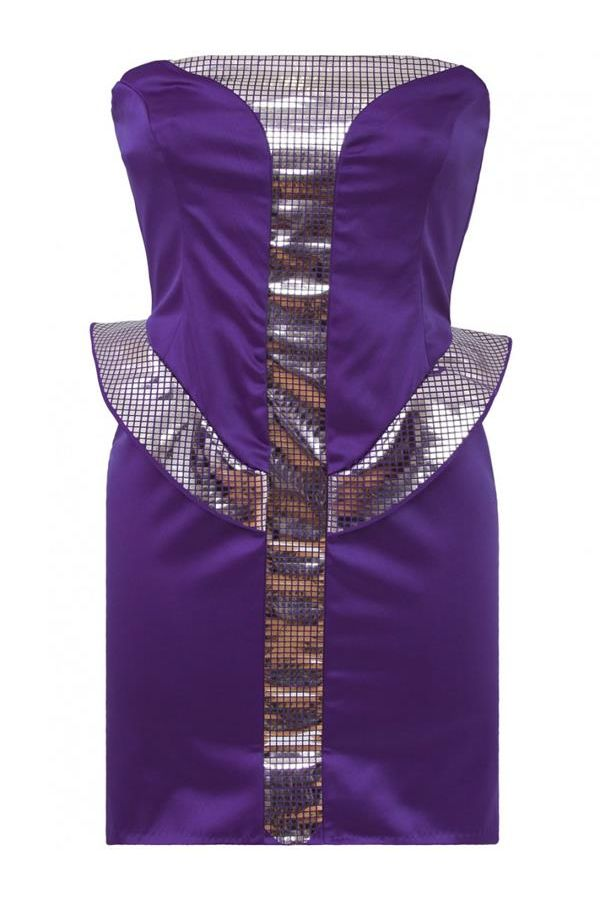 stars strapless satin dress decorated with silver details purple