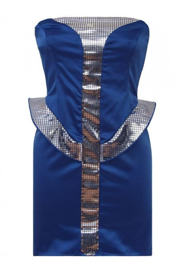 stars strapless satin dress decorated with silver details blue