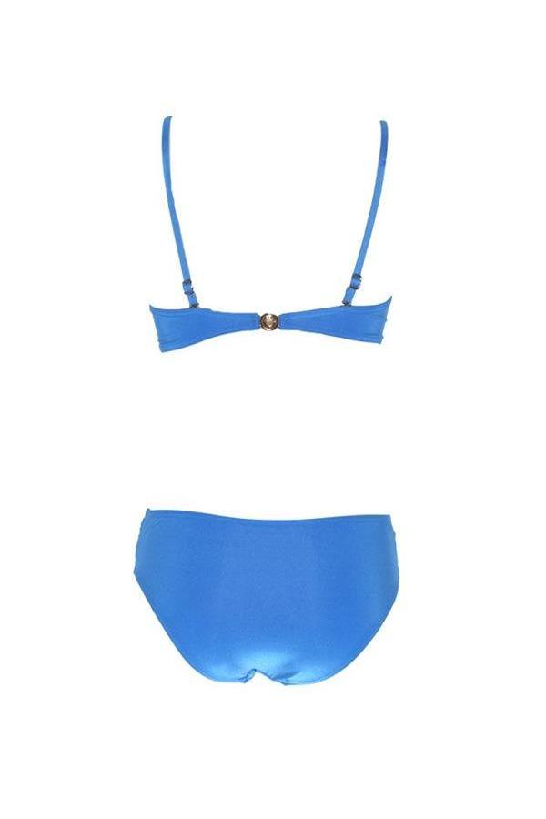 bandeau bikini swimwear with padding metallic silver ring adjustable remoovable straps blue