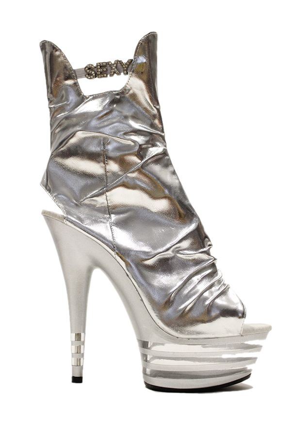 high heels sexy pleated sandal platform front silver