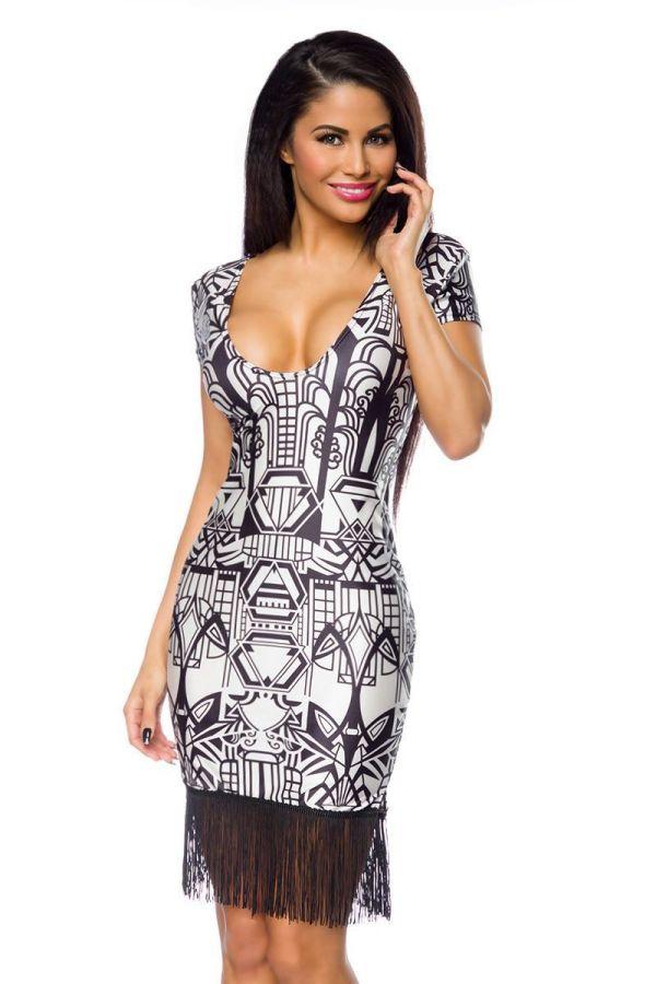 dress_fringe_hem_geometrical_shapes_print_charleston_style_white_black