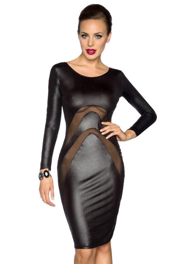 AT1513678 DRESS WETLOOK BLACK
