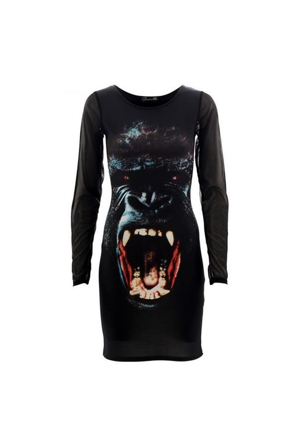 exclusive celebrity dress with long mesh sleeves deocrated with gorilla animal graphic print black