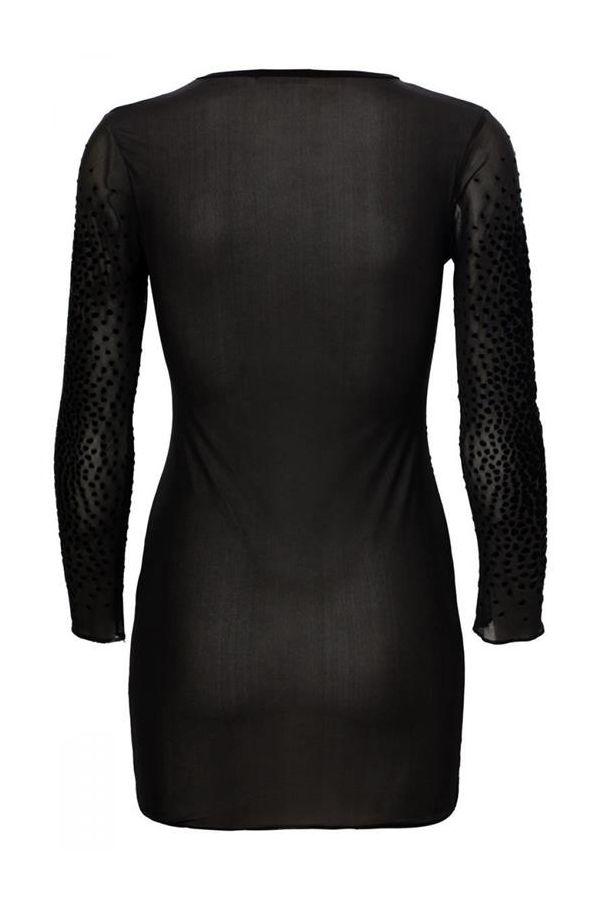 dress mini celebrity folk velvet with mesh sleeves black