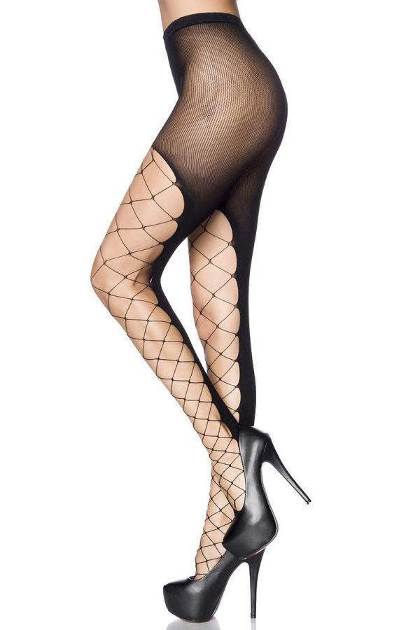 σέξι διχτυωτό καλσόν με όμορφο σχέδιο μαύρο