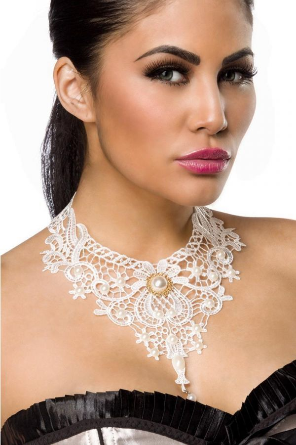 NECKLACE LACE GOTHIC WHITE DAT1614336