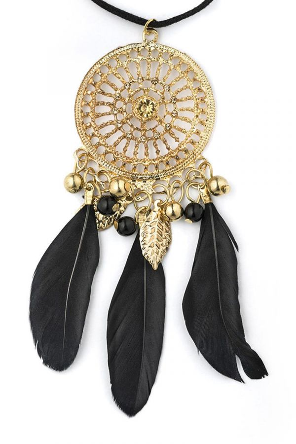 NECKLACE PENDANT FEATHERS BEADS BLACK GOLD DAT1614703