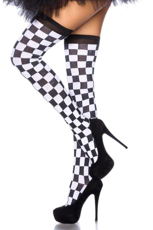 γυναικείες ψηλές καρό κάλτσες άσπρες μαύρες