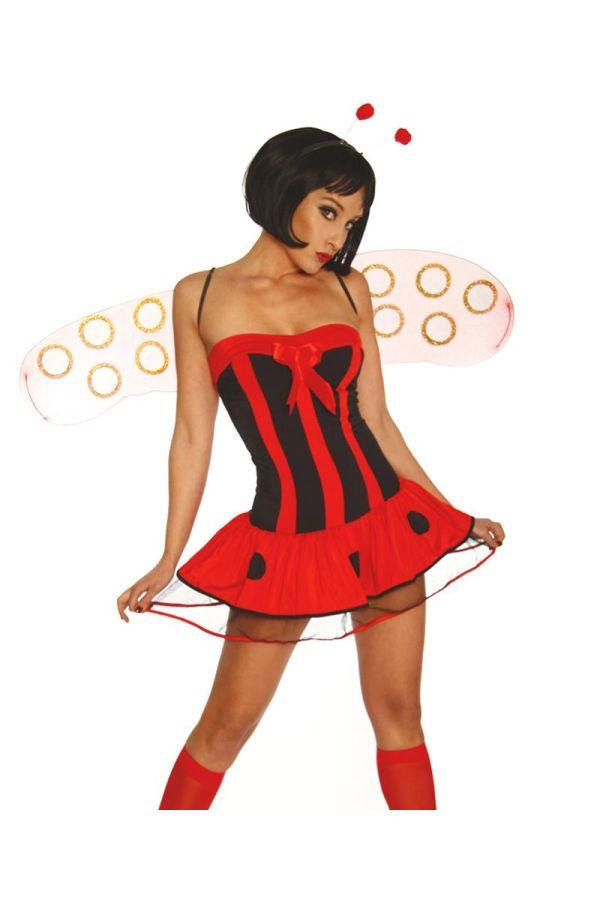 πασχαλίτσα κομπλέ σετ κοστούμι περιλαμβάνει μίνι φόρεμα στέκα με αισθητήρες φτερά και στρινγκ μαύρο κόκκινο