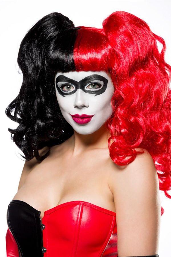 αποκριάτικο κοστούμι σετ bad harlequin δερματίνη μαύρο κόκκινο.