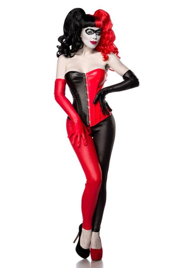 DAT1780049 COSTUME BAD HARLEQUIN BLACK RED