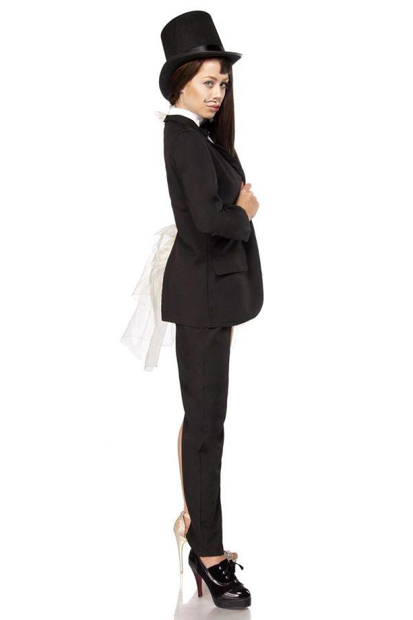 γυναίκα άντρας αποκριάτικη στολή περιλαμβάνει μισό κοστούμι μισή φούστα με τοπ καπέλο και ένα γάντι άσπρη μαύρη