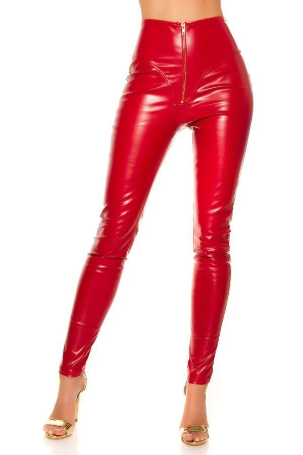 παντελόνι ψηλόμεσο φερμουάρ δερματίνη κόκκινο.