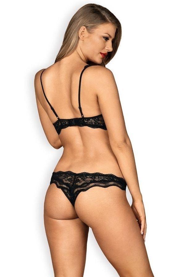 εσώρουχα σετ σέξι ανοιχτό σουτιέν brazil σλιπ δαντελωτό μαύρο.