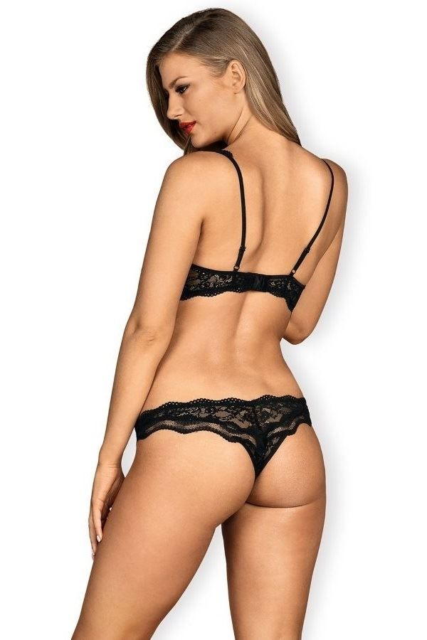 LINGERIE SET SEXY OPEN CUPLESS BRA BRAZIL SLIP LACE BLACK DRED222896