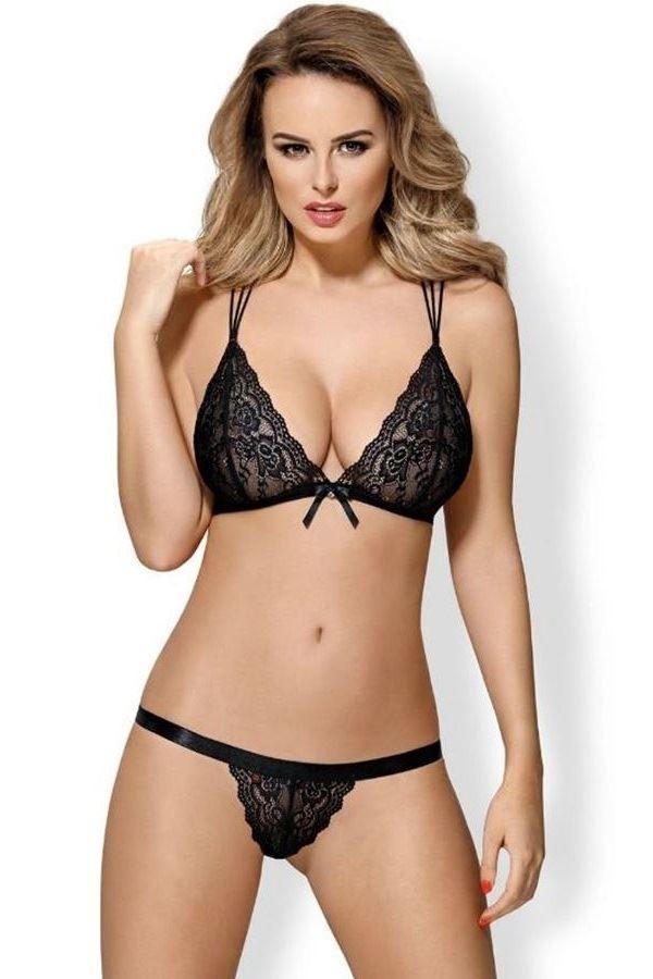 LINGERIE SET SEXY STRAPS BRA STRING BLACK DRED218143