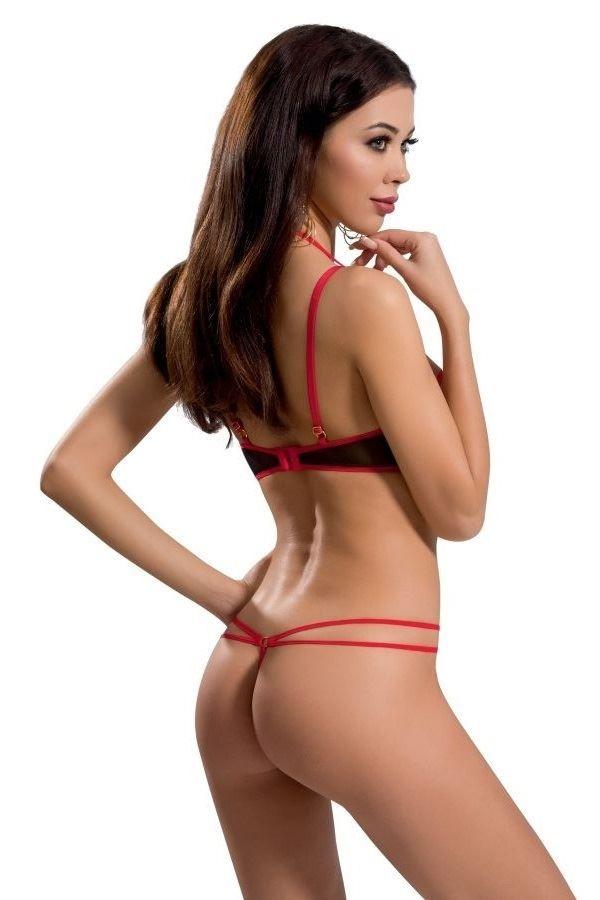σετ εσώρουχα λουριά σέξι ανοιχτό σουτιέν στρινγκ μαύρο κόκκινο.