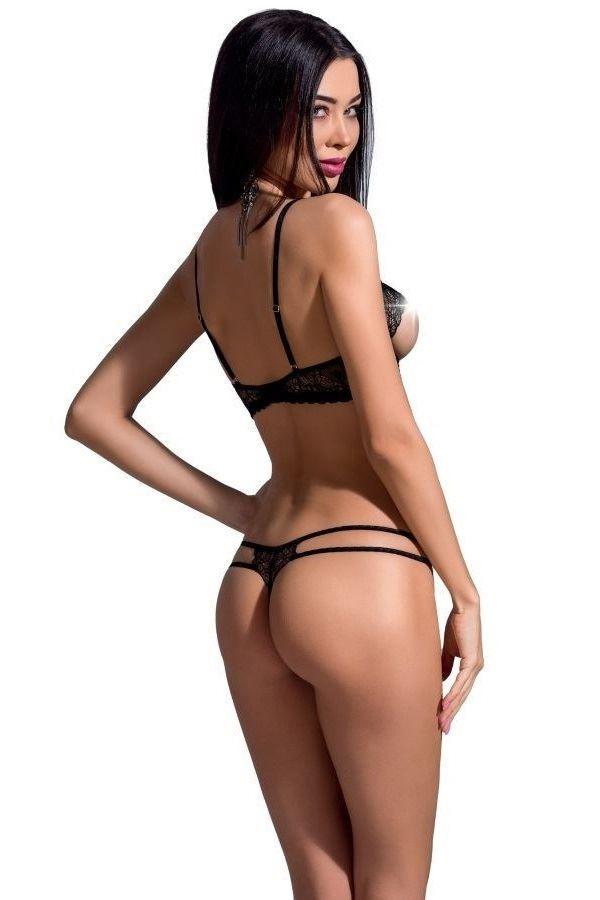 LINGERIE SET SEXY OPEN BRA STRING BLACK DRED222495