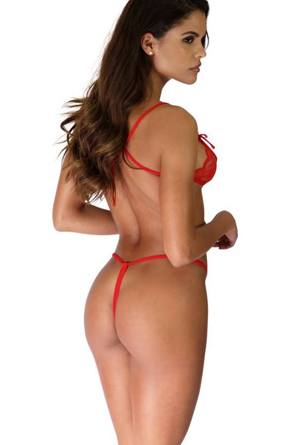 Lingerie Set Bra String Cord Red GTOY133I3