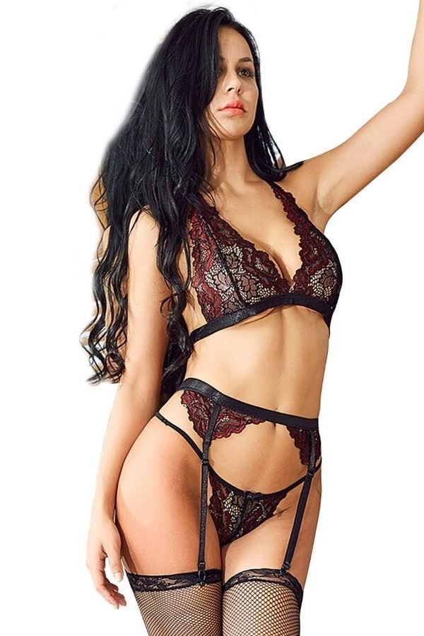 LINGERIE SET LACE BRA STRING GARTER BELT BLACK BORDEAUX DRED223384