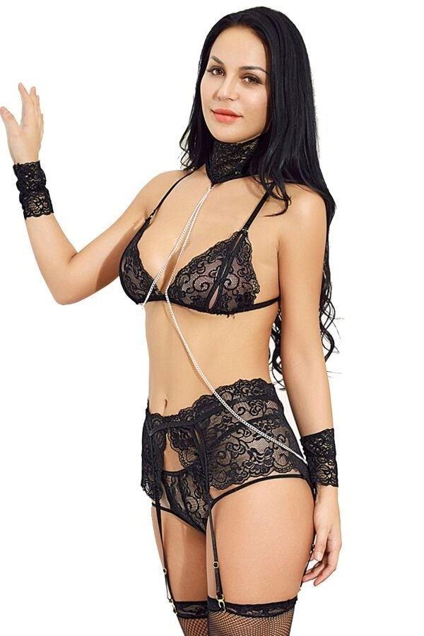 μαύρα δαντελωτά εσώρουχα σετ σέξι σουτιέν σλιπ ζαρτιέρες καλτσοδέτες υφασμάτινες χειροπέδες.