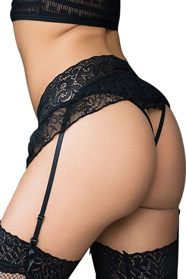 LINGERIE SET SEXY GARTER BELT STRING BLACK DRED223570
