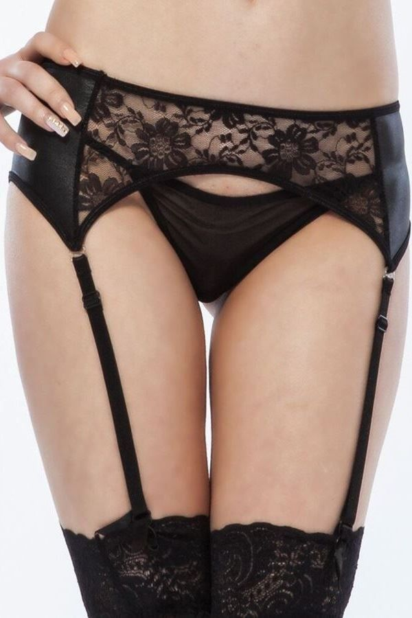 LINGERIE SET SEXY GARTER BELTS STRING LACE BLACK DRED223577