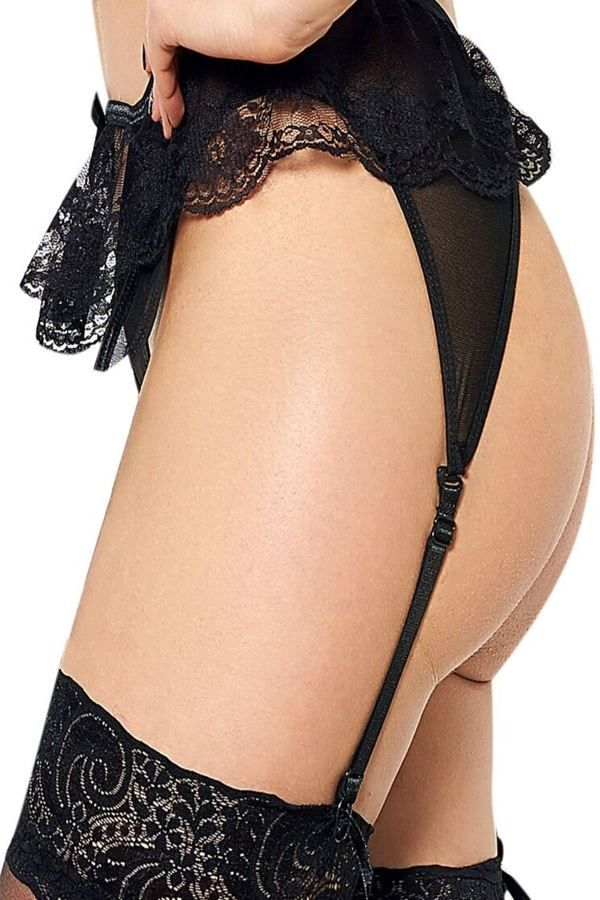lingerie set sexy garter belt string black.