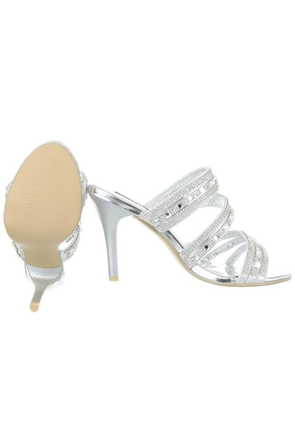 formal sandals decorated with rhinestones silver