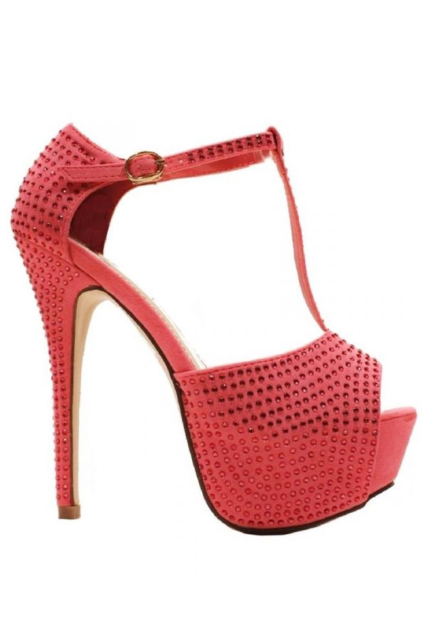 high heels sandal formal suede decorated with rhinestones coral