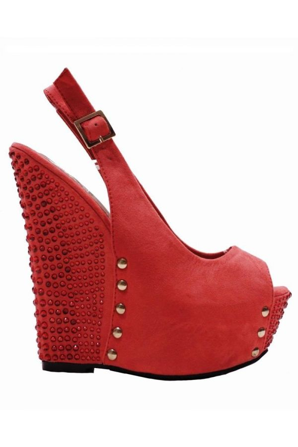 high heel platform suede sandal with internal platform decorated with metallic studs and strass red