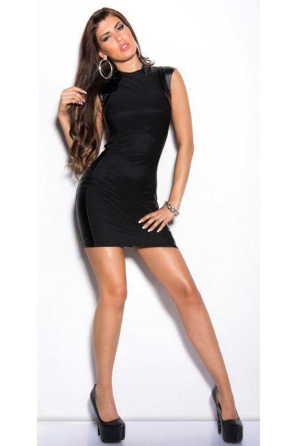 φόρεμα business αμάνικο δερματίνη πάνελ μαύρο.