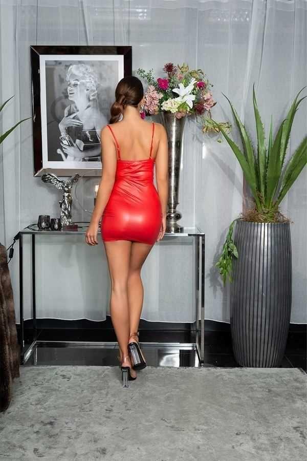 φόρεμα σέξι αμάνικο wetlook κόκκινο.