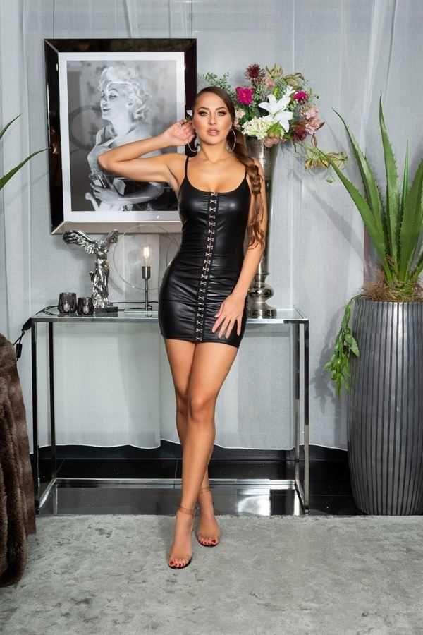dress sexy sleeveless wetlook black.
