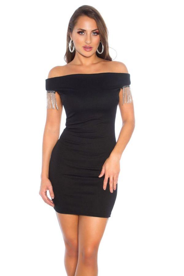 φόρεμα carmen κρόσσια μαύρο.