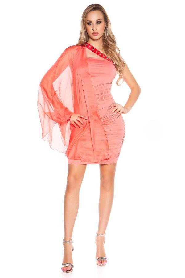 Dress Sexy Short Glitter Stones Salmon ISDN377305
