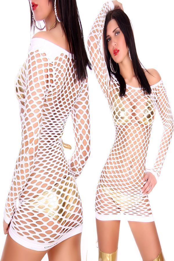 DRESS SEXY NET WHITE ISDZ7700